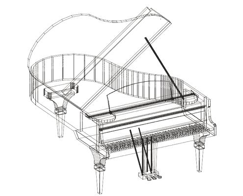 Etude modelisation piano transparent Plexiglas Altuglas